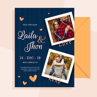 Wedding card with photo of engaged couple