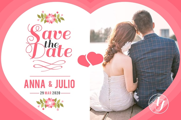 Wedding card with photo with bride and groom