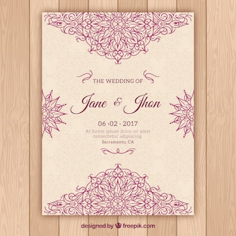 핑크 만다라 디자인 웨딩 카드