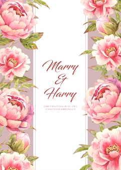 Wedding card with pink peony flower on side