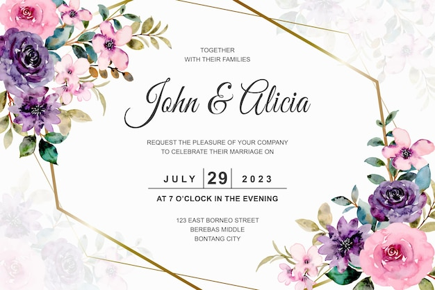 Wedding card with pink purple rose flower watercolor