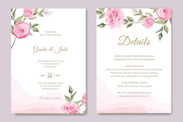ピンクのバラのウェディングカード