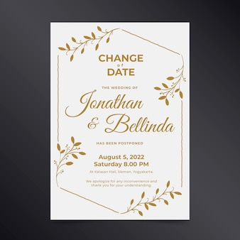 Wedding card with postponed date