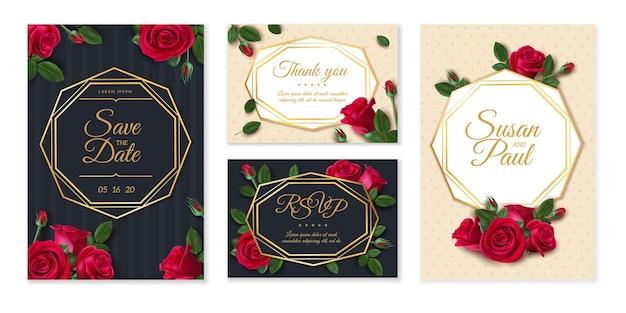 장미 웨딩 카드입니다. 결혼식 초대 카드, 우아한 꽃 꽃다발, 날짜 및 이름표, 빈티지 꽃 디자인 템플릿 프레임. 꽃 그림 카드 청첩장