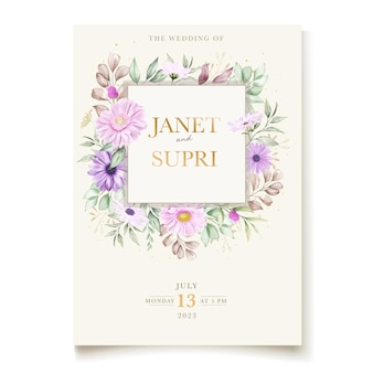 Wedding card with soft chrysanthemum flower