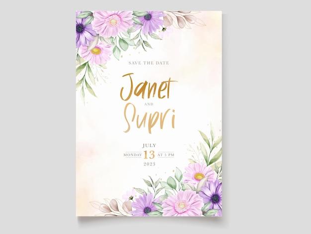 부드러운 국화 꽃과 웨딩 카드