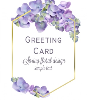 Wedding card with spring hydrangea flowers