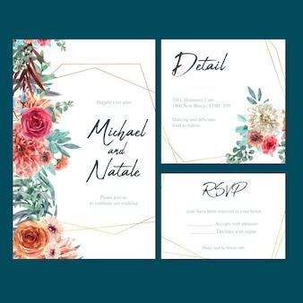ヴィンテージの花、創造的な水彩のダリアとバラのイラストのウェディングカード。