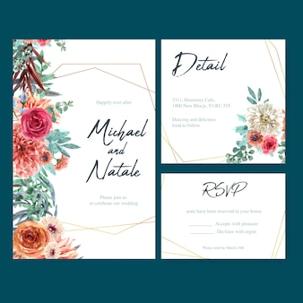 Wedding card with vintage floral, creative watercolor dahlia and rose illustration.