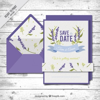 Wedding card with a violet envelope