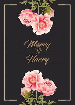 상단과 하단에 수채화 분홍색 모란 꽃과 웨딩 카드