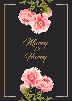 Wedding card with water color pink peony flower on top and bottom