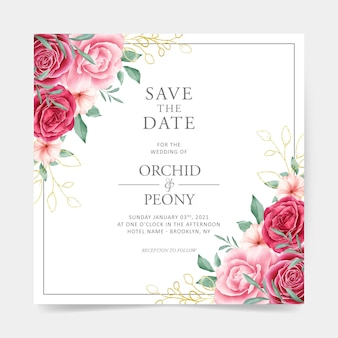 Wedding card with watercolor floral decoration and golden outlined leaves