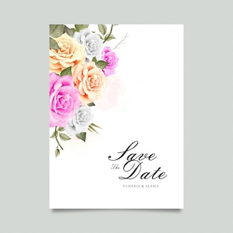 Wedding card with watercolor flower