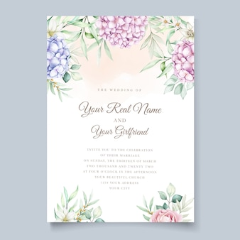 Wedding card with watercolor hydrangea flowers