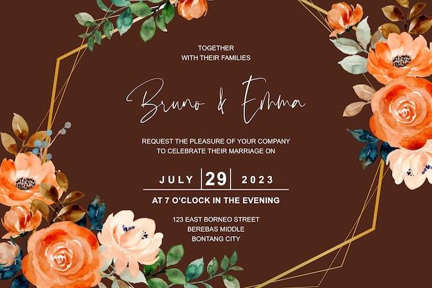 Свадебная открытка с акварельной розой и золотой рамкой