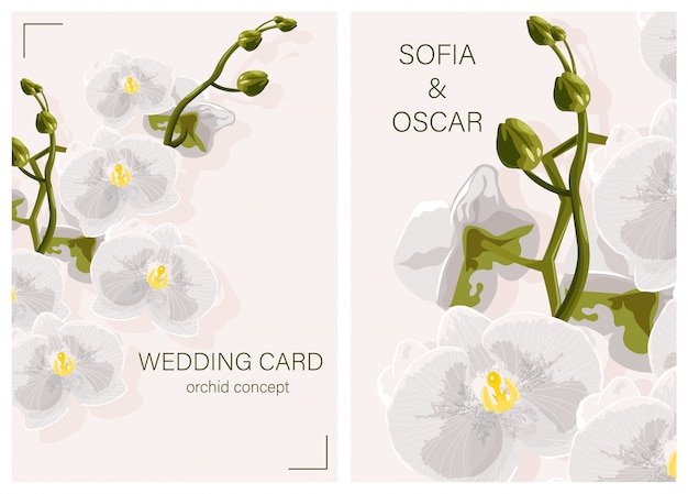 Wedding card with white orchid flowers concept and place for text