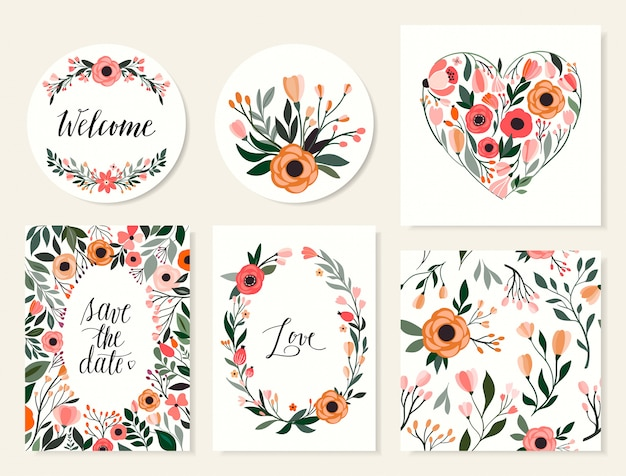 Wedding cards collection, save the date invitation, seamless pattern with floral