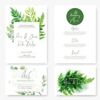Набор свадебных карточек, дикие акварельные зеленые папоротники