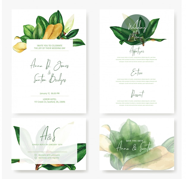 Wedding cards kit with watercolor magnolia leaves