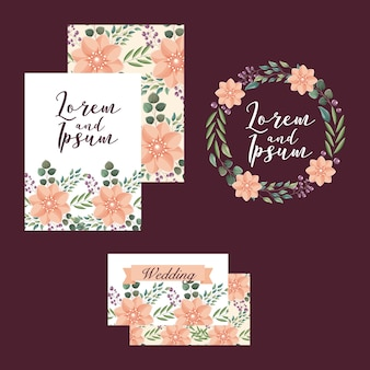 Wedding cards template flowers ornament decoration