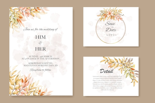 Wedding cards with autumn leaves