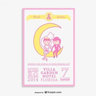 Wedding cartoon hand-drawn invitation
