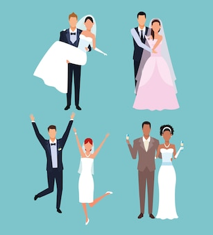 Wedding cartoons set