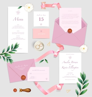 Wedding celebration announcement invitation place cards menu rings pink envelopes ribbons top view realistic set