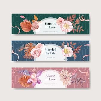 Modelli di banner per la celebrazione del matrimonio impostati in stile acquerello