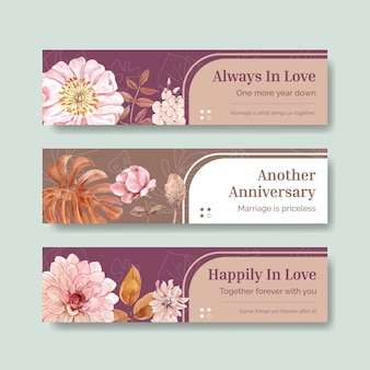 Wedding celebration banner templates set in watercolor style