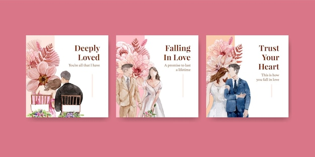 수채화 스타일에서 설정 결혼식 축하 카드 템플릿