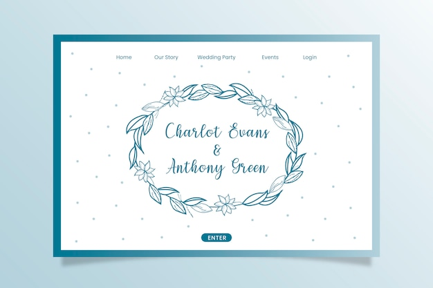 Wedding celebration landing page with hand drawn floral ornaments