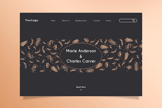 Wedding celebration landing page with hand drawn golden floral elements