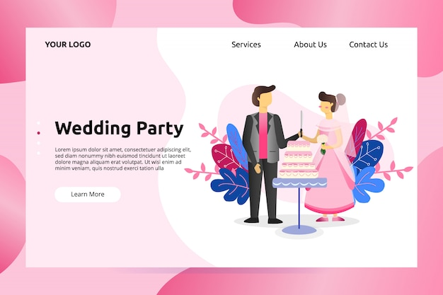 Wedding celebration party landing page illustration
