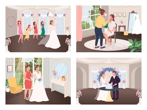 결혼식 축 하 전통 평면 컬러 일러스트 세트