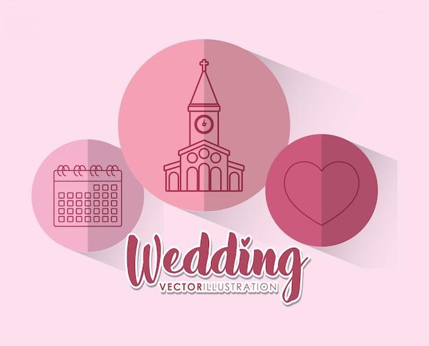 Wedding celebration with set icons