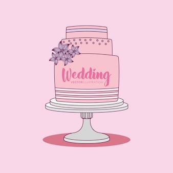 Wedding celebration with sweet cake