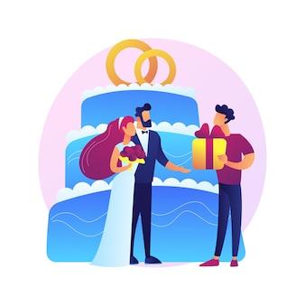 Cerimonia matrimoniale. sposa in un bellissimo abito bianco e personaggi dei cartoni animati dello sposo. primo ballo degli sposi. matrimonio, fidanzamento, celebrazione.