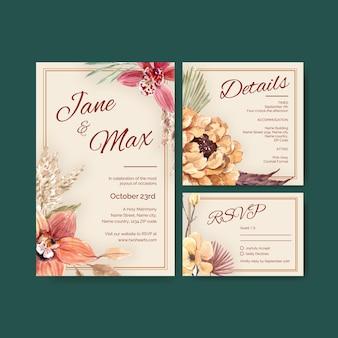 결혼식 카드 템플릿 디자인 수채화 일러스트