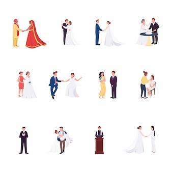 Набор плоских цветных безликих персонажей свадебной церемонии жених и невеста держатся за руки гей-пара празднование брака изолированные иллюстрации шаржа для веб-графического дизайна и коллекции анимации