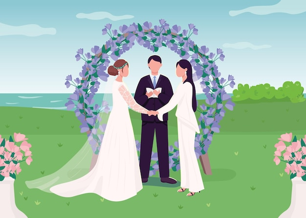 Свадебная церемония для лесбийской пары плоской цветной иллюстрации. романтическая помолвка. счастливые влюбленные женщины. жена, взявшись за руки героев мультфильмов с пейзажем на фоне Premium векторы