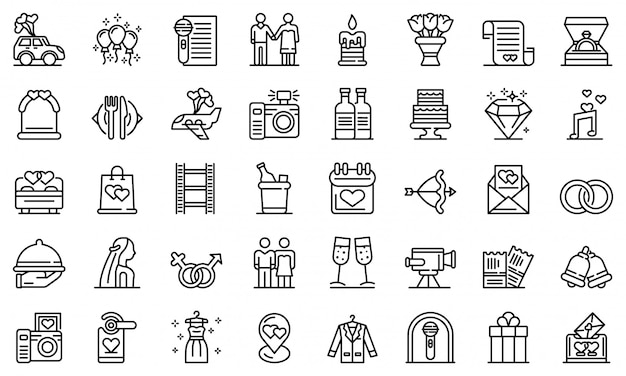 Wedding ceremony icons set, outline style