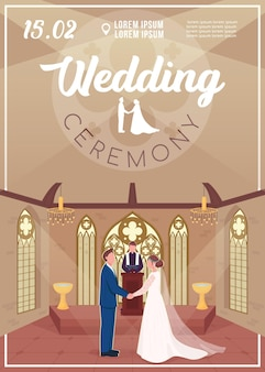 Wedding ceremony invitation flat vector template. couple in church. engagement event. brochure, booklet one page concept design with cartoon characters. marriage celebration flyer, leaflet
