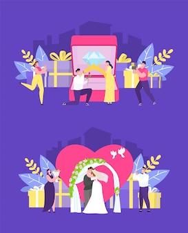 結婚式の人々のイラスト。新婚カップルのためのロマンチックな旅行。結婚式のアーチの下で立っている新郎新婦の愛の式