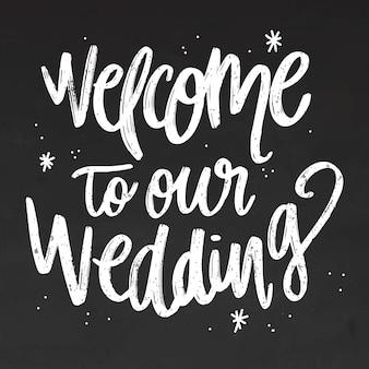Wedding chalk lettering on blackboard