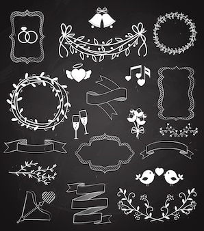 Wedding chalkboard elements and ribbons set with arrow  hearts  frames  wreaths  swags  bells  birds  champagne  floral border  banner  ribbon  and rings   vector outline sketches