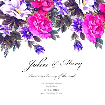 Wedding colorful flowers with invite invitation card template