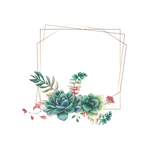 Wedding colorful frame with succulent and cacti.
