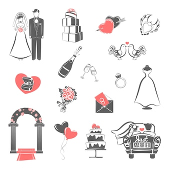 Wedding concept black red icons set
